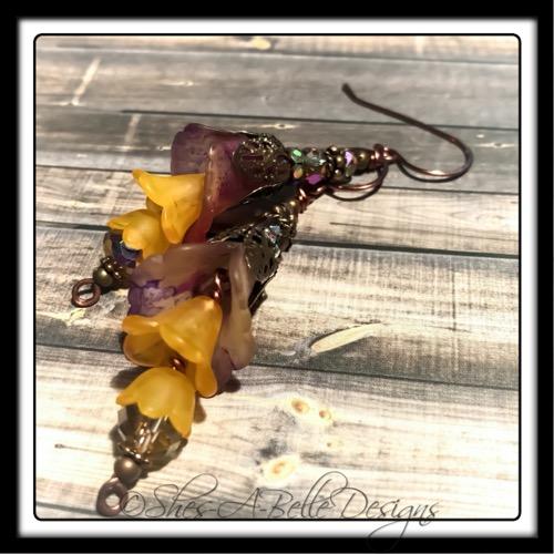 Sunset Fairy Flower Earrings in Antique Copper, Lucite Flower Earrings