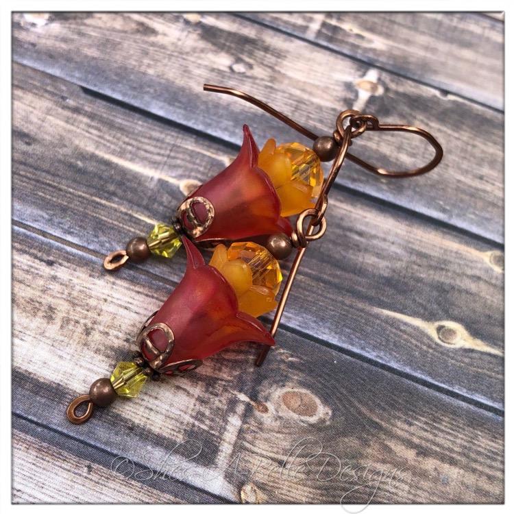Spindle Berry Fairy Flower Drop Earrings in Antique Copper, Lucite Flower Earrings
