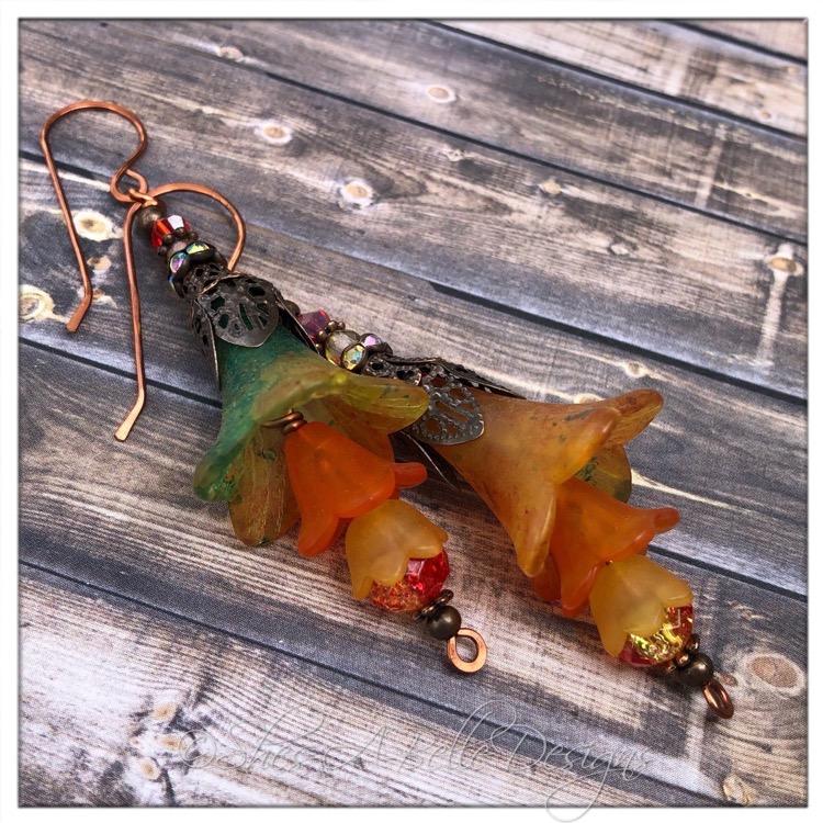 Orange Blossom Fairy Flower Trumpet Trail Earrings in Antique Copper, Lucite Flower Earrings