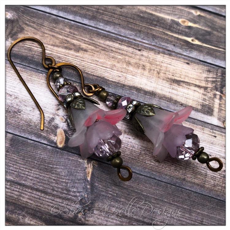 French Lilac Fairy Flower Drop Earrings in Antique Bronze, Lucite Flower Earrings
