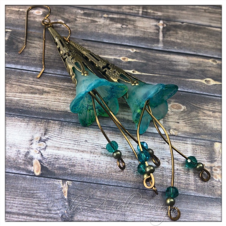 Tropics Fairy Flower Trumpet Cascade Earrings in Antique Bronze, Lucite Flower Earrings