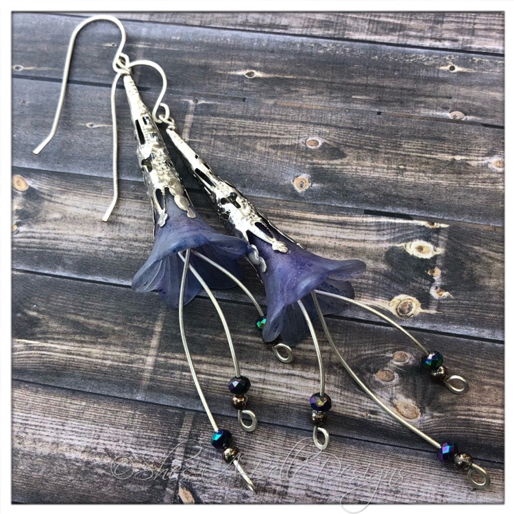 Forget-Me-Not Fairy Flower Trumpet Cascade Earrings in Silver, Lucite Flower Earrings