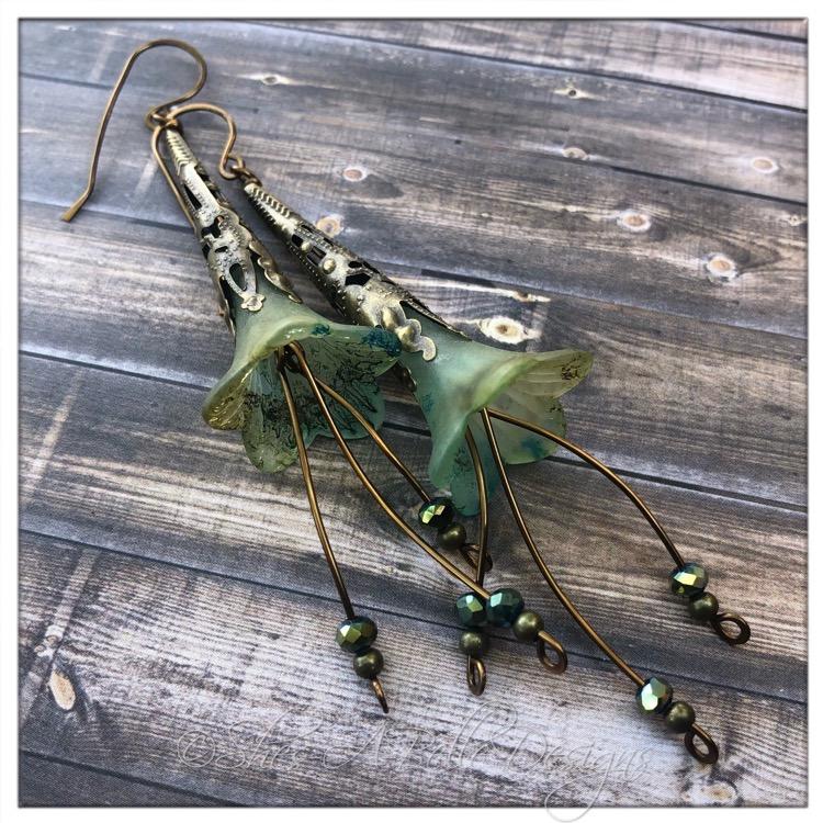 Summertime Fairy Flower Trumpet Cascade Earrings in Antique Bronze, Lucite Flower Earrings