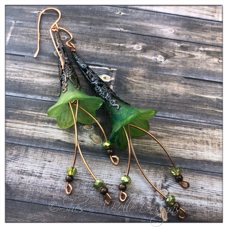 Tree Sprite Fairy Flower Trumpet Cascade Earrings in Antique Copper, Lucite Flower Earrings