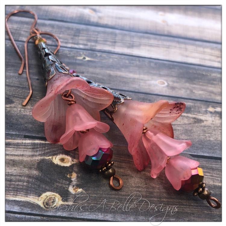 Cherry Blossom Fairy Flower Trumpet Trail Earrings in Antique Copper, Lucite Flower Earrings