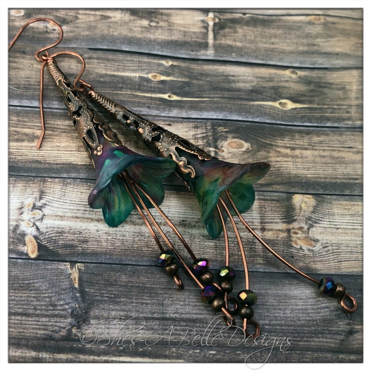 Rainbow Fairy Flower Trumpet Cascade Earrings in Antique Copper, Lucite Flower Earrings