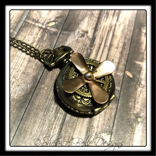 Airship Captain Pocket Watch Necklace in Antique Bronze and Copper, Steampunk Watch Necklace