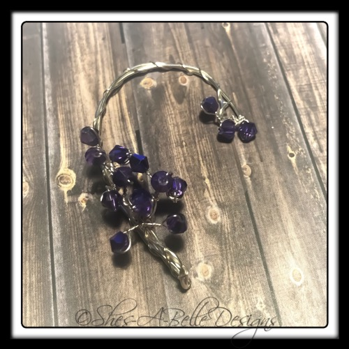 French Lilac Fairy Beaded Branches Wire Wrapped Right Ear Wrap in Bright Silver