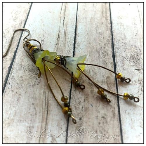 Midnight Fairy Flower Trumpet Trail Earrings in Antique Bronze, Lucite Flower Earrings