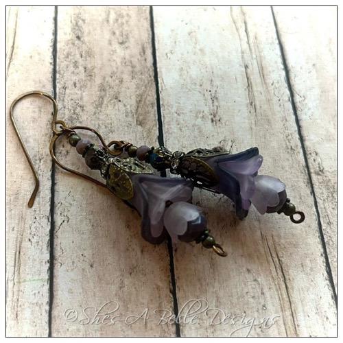 Springtime Fairy Flower Cascade Earrings in Antique Bronze, Lucite Flower Earrings
