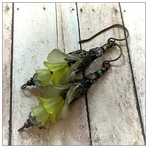 Tropics Fairy Flower Drop Earrings in Antique Copper, Lucite Flower Earrings