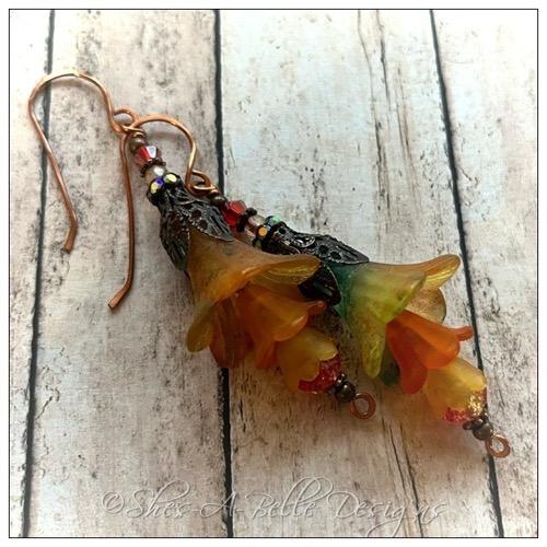 Dark Forest Fairy Flower Drop Earrings in Antique Bronze, Lucite Flower Earrings