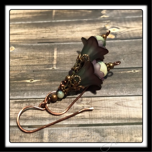 Evergreen Fairy Flower Drop Earrings in Antique Copper, Lucite Flower Earrings