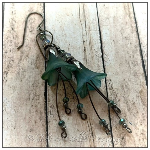 Spindle Berry Fairy Flower Drop Earrings in Antique Copper, Lucite Flower Earrings