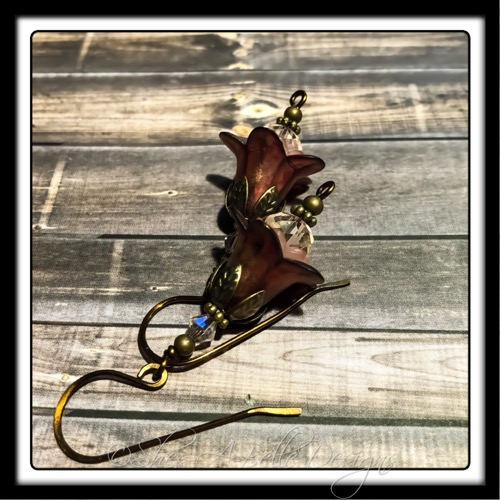 Victorian Rose Fairy Flower Drop Earrings in Antique Bronze, Lucite Flower Earrings