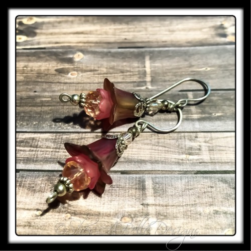 Victorian Rose Fairy Flower Drop Earrings in Antique Silver, Lucite Flower Earrings