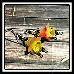Strawberry Lemonade Fairy Flower Drop Earrings in Antique Silver, Lucite Flower Earrings