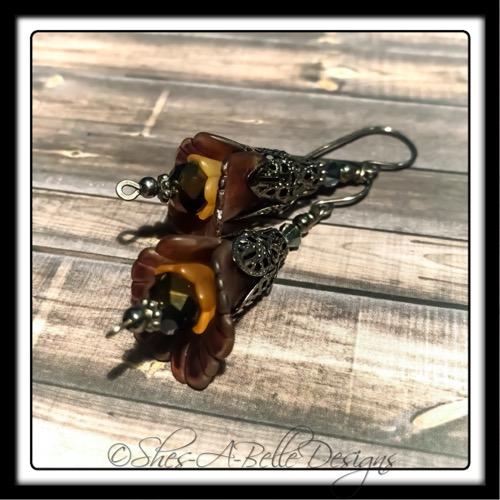 Autumn Fairy Flower Drop Earrings in Gunmetal, Lucite Flower Earrings