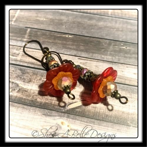 Fiery Sunset Fairy Flower Drop Earrings in Antique Bronze, Lucite Flower Earrings