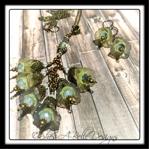 Lime Tree Fairy Flower Necklace and Earring Set in Antique Bronze