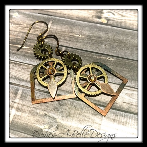 Architect's Steampunk Earrings in Mixed Metals, Steampunk Earrings