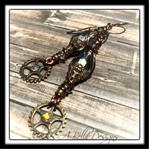 Gearhead Steampunk Earrings in Antique Copper, Steampunk Style