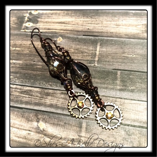 Gearhead Steampunk Earrings in Antique Copper, Steampunk Style