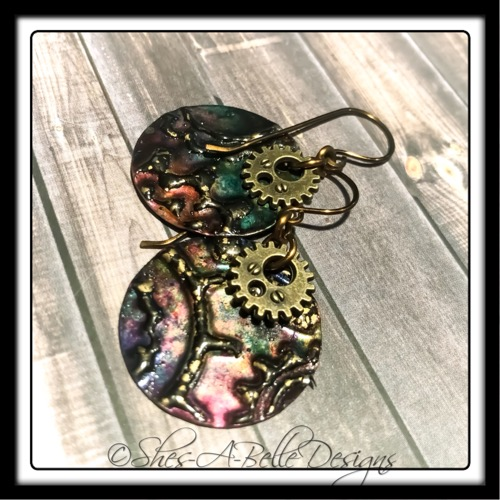 Gearhead Embossed Steampunk Earrings in Colorized Metal, Steampunk Style