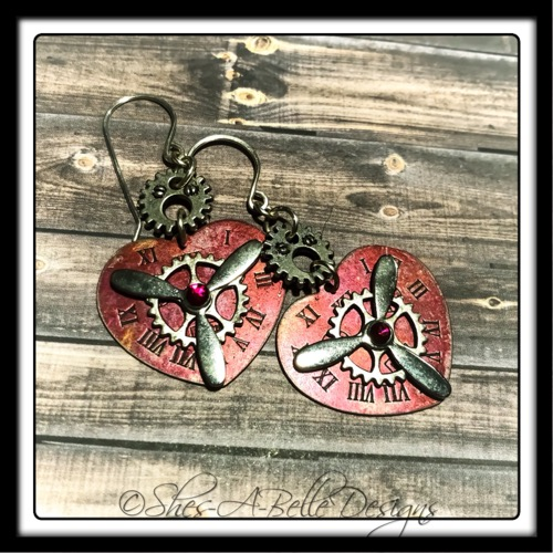 Time Keeper's Steampunk Earrings in Colorized Antique Silver, Steampunk Style