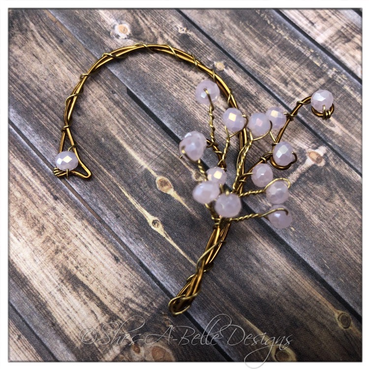 Apple Blossom Fairy Beaded Branches Wire Wrapped Left Ear Wrap in Antique Bronze