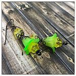 Citrus Fairy Flower Double Drop Earrings in Gunmetal, Lucite Flower Earrings