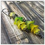 Citrus Fairy Flower Vine Earrings in Gunmetal, Lucite Flower Earrings