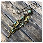 Antique Lock and Skeleton Key Earrings in Antique Bronze, Steampunk Earrings