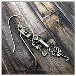 Antique Lock and Skeleton Keys Earrings in Antique Silver, Steampunk Earrings