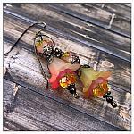 Strawberry Lemonade Fairy Flower Double Drop Earrings in Gunmetal, Lucite Flower Earrings