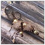 Apple Blossom Fairy Flower Upside Down Drop Earrings in Antique Copper, Lucite Flower Earrings