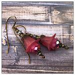 Cherry Blossom Fairy Flower Drop Earrings in Antique Bronze, Lucite Flower Earrings