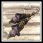 Wild Grapevine Fairy Flower Trumpet Trail Earrings in Antique Bronze, Lucite Flower Earrings