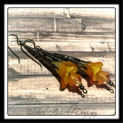 Orange Blossom Fairy Flower Trumpet Drop Earrings in Gunmetal, Lucite Flower Earrings