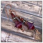 Blackberry Fairy Flower Drop Earrings in Antique Copper, Lucite Flower Earrings