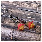 Strawberry Lemonade Fairy Flower Drop Earrings in Gunmetal, Lucite Flower Earrings