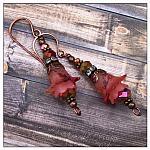 Cherry Blossom Fairy Flower Drop Earrings in Antique Copper, Lucite Flower Earrings