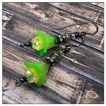 Citrus Fairy Flower  Drop Earrings in Gunmetal, Lucite Flower Earrings