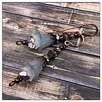 Frost Fairy Flower Drop Earrings in Antique Copper Lucite Flower Earrings