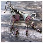 Apple Blossom Fairy Flower Trumpet Cascade Earrings in Antique Bronze, Lucite Flower Earrings