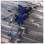 Morning Glory Fairy Flower Cascade Earrings in Gunmetal, Lucite Flower Earrings