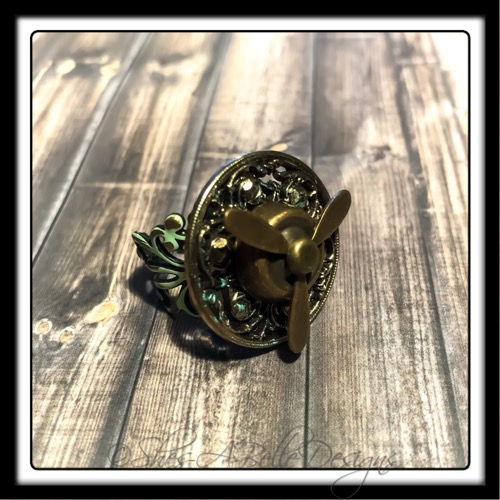Airship Captain Propeller Ring in Antique Bronze Patina, Adjustable Steampunk Ring