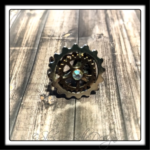 Gearhead Ring in Antique Copper and Silver, Adjustable Steampunk Ring