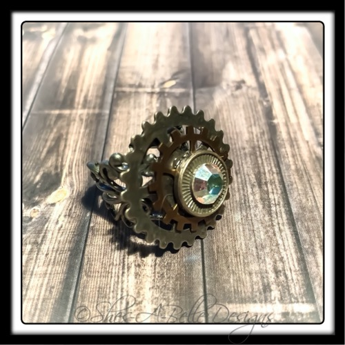 Gearhead Ring in Antique Silver, Adjustable Steampunk Ring