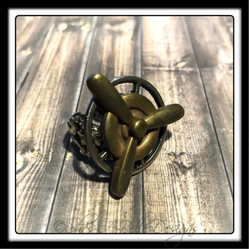 Airship Captain Propeller Ring in Antique Silver and Bronze, Adjustable Steampunk Ring